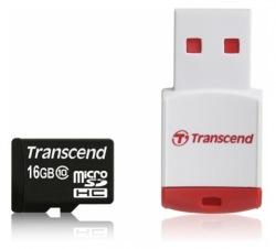 Карта памяти 16GB Transcend MicroSDHC Class 10 + ридер (TS16GUSDHC10-P3)