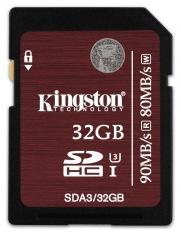 Карта памяти Kingston Ultimate SDHC 32Gb Class10 UHS-I U3 90Mb/s (SDA3/32Gb)