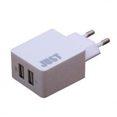 Сетевое зарядное устройство JUST Core Dual (3.4A/17W, 2USB) White