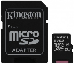 Карта памяти KINGSTON 64GB microSDXC Cl 10 UHS-I + adapter