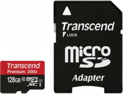 Карта памяти Transcend 128 GB microSDXC UHS-I Premium + SD Adapter TS128GUSDU1