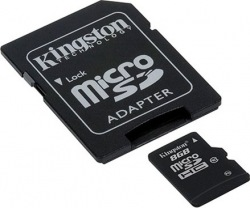 Карта памяти KINGSTON microSDHC 8GB 10Cl+adapt