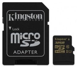 Карта памяти Kingston MicroSD 32GB Class 10 UHS-I + SD-adapter (SDCA10/32GB)