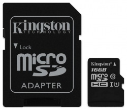 Карта памяти Kingston microSDHC 16GB Class 10 UHSI