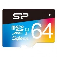 Карта памяти Silicon Power 64 GB microSDXC Class 10 UHS-I SuperiorProColor + SD adapter SP064GBSTXDU