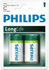 Батарейка PHILIPS Longlife R14-L2B С (R14) бл.2шт