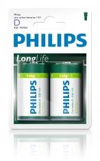 Батарейка PHILIPS Longlife R20-L2B D бл.2 шт