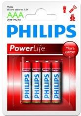Батарейка PHILIPS PowerLife LR03-P4B ААА бл.4 шт