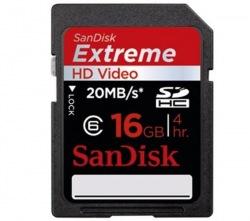 Картa памяти Sandisk Extreme HD Video SDHC Class 6 16GB