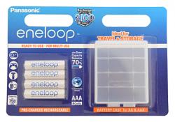 Аккумуляторы Panasonic Eneloop AAA 750 4BP mAh NI-MH+case (BK-4MCCEC4BE)