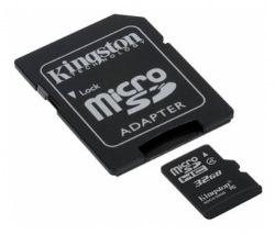 Карта памяти Kingston MicroSDHC 32GB (Class 4) +S