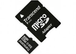 Карта памяти Transcend MicroSDHC 8GB Class 4 + SD адаптер