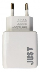 Зарядное устройство JUST Simple Dual USB Wall Charger (2.1A/2USB, 10W) White (WCHRGR-SMP22-WHT)