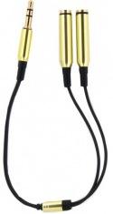 Адаптер для наушников DENGOS (3,5j-2x3,5fem) Gold