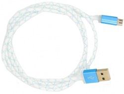 Кабель Dengos micro-USB LED 1м blue