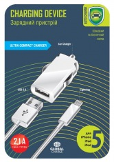 Зарядное устройство авто GLOBAL MSH-SC-031 с кабелем для iPhone 5