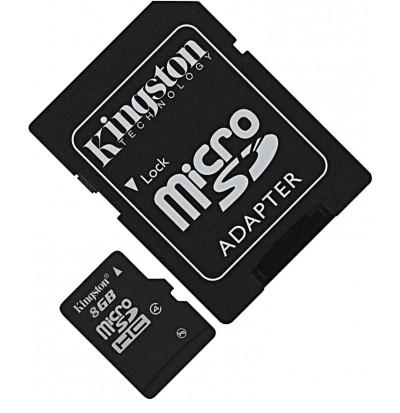 Карта пам'яті KINGSTON microSDHC 8 Гб (Class 4) + SD адаптер (SDC4 / 8GB)
