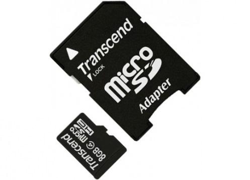 Карта пам'яті Transcend MicroSDHC 8GB Class 4 + SD адаптер