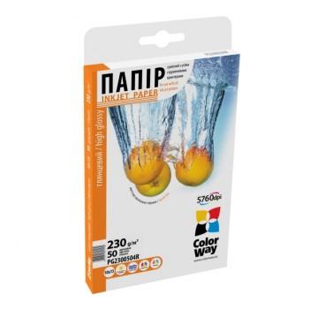 Бумага ColorWay 10х15 ПГ230-50 (Рубин) карт. уп.