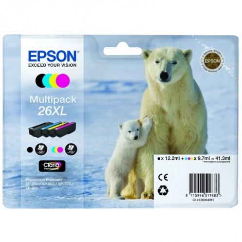 Набор картриджей Epson 26XL XP600/605/700 Bundle (C, M, Y, B) (C13T26364010)