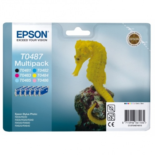 Набор картриджей Epson StPhoto R200/220/300/320/340, RX500/600/620/640 Bundle (Bk, C, M, Y, Lc, Lm)