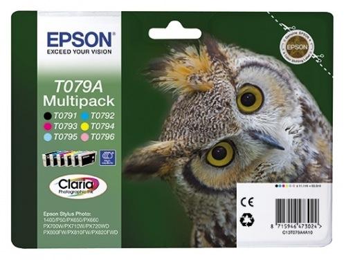 Набор картриджей Epson T079 StPhoto P50/ PX660/ PX720WD/ PX820FWD Bundle (Bk, C, M, Y, LC, LM) (C13T