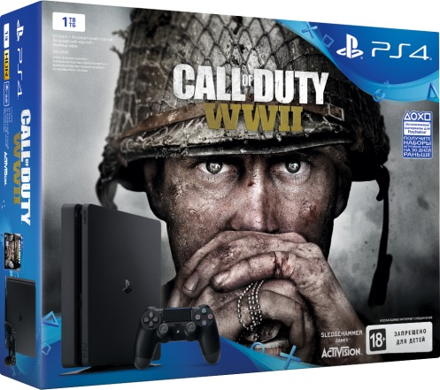 Консоль Sony PS4 Slim 1TB Black (Call of Duty WWII)