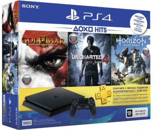 Консоль Sony PS4 Slim500Gb(HZD+GOW3+UC4+PSPlus 3М) Black