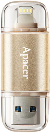 Накопитель USB 64GB Apacer AH190 Lightning Dual USB 3.1 Gold