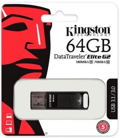 Накопитель Kingston 64GB USB 3.1 DT Elite G2 Metal Black