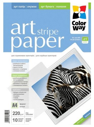 Бумага ColorWay A4 ART глян./факт. полоски 230г/м, 10л