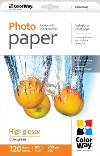 Бумага ColorWay глянцевая 200 г/м², 10x15, 120 листов (PG2001204R)
