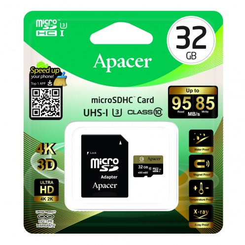 Карта памяти Apacer microSDHC 32GB UHS-I U3+adapter