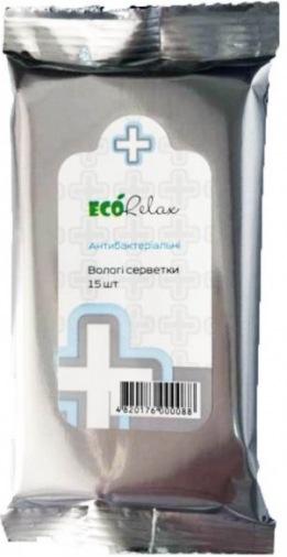 """Влажные салфетки EcoRelax """"Антибактериальная"""" 15 шт"""