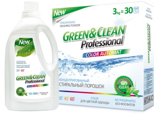 Набор Green&Clean порошок 3кг+гель 1,5л для цветной стирки