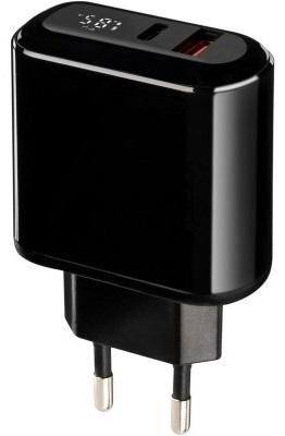 Мережевий зарядний пристрій Gelius Zion QC3.0 PD2.0 18W з LCD GP-HC010 Чорний (82306)