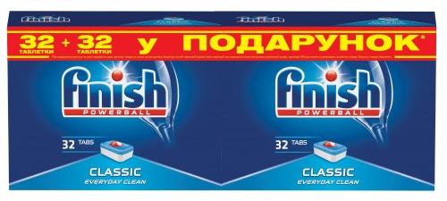 Таблетки для посудомийних машин FINISH Classic (32+32 шт)