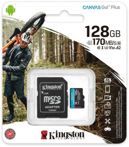 Карта пам'яті KINGSTON microSDXC 128Gb Canvas Go+ U3 V30 (R170/W90)+adapter (ISDCG3/128GB)