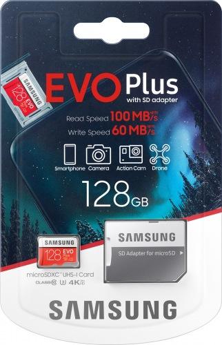 Карта пам'яті Samsung EVO Plus microSDXC 128GB UHS-I + SD адаптер