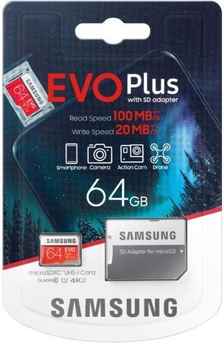 Карта пам'яті Samsung EVO Plus microSDXC 64GB UHS-I + SD адаптер (MB-MC64HA/RU)