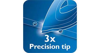 Носик цієї праски Philips забезпечує потрійну точність  він загострений та  тонкий і має виїмку для ґудзиків. Носик Triple Precision дає змогу досягати  ... 1e6108b01ab1e