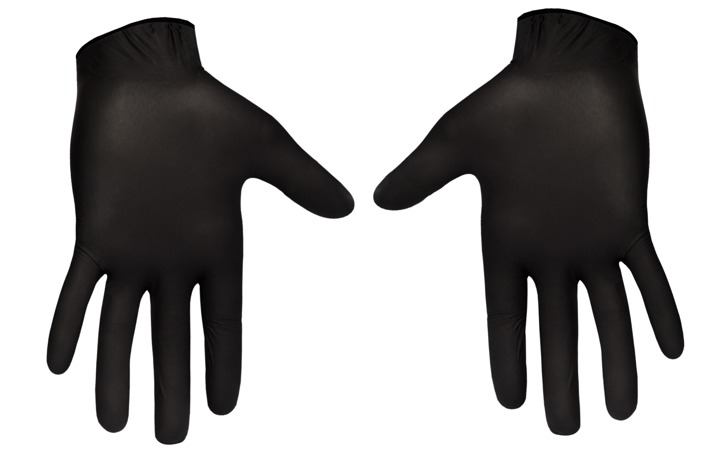 Черные медицинские перчатки из нитрила